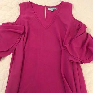 She + Sky pink cold shoulder blouse L